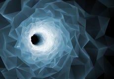 Turning black tunnel interior, 3d illustration Royalty Free Stock Photography