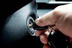 Free Turning Car Key In The Key Hole To Start The Car Engine Stock Photos - 123202893