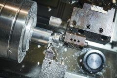 Free Turning Cnc Machine At Metal Work Industry. Multitool Precision Manufacturing And Machining Stock Photo - 150751880