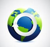 Turning cycle symbol icon on globe illustration Stock Photos
