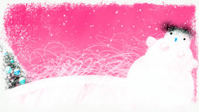 Turning Decorated Christmas Earth on Pink Background. Turning decorated winter earth with Christmas tree, lights, Snowman on Pink Background. Can be used as stock video footage