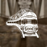 Turning engraving face of modern speed train and wagons and text fast train into speed wave and good journey text on face train Royalty Free Stock Images