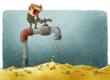 Turning on the faucet royalty free illustration