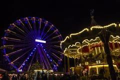 Turning Ferris wheel on achristmas market, Maastricht, the Nethe Royalty Free Stock Photos