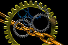 Turning Gears and chain links Stock Image