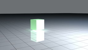 Turning green cube with animated graphics. Turning green cube on a grid with animated graphics stock video footage