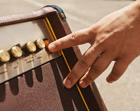 Turning guitar amplifier Royalty Free Stock Images