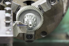 Turning hardening steel automotive gear Royalty Free Stock Images