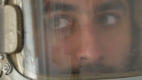 Turning Head Cosmonaut. Close up shot of turning head vintage astronaut stock video footage