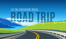 Turning highway banner. Turning highway in the background of mountains and blue sea. Road trip banner. Flat Design Vector Illustration Stock Image