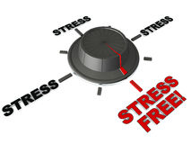 Stress free switch. Turning the knob away from stress to stress free word on white background Royalty Free Stock Image