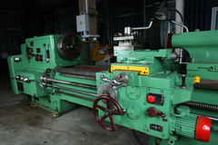 Turning lathe. Huge turning lathe in a repair workshop Royalty Free Stock Photography
