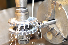 Turning lathe in action Stock Photo