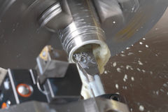 Turning lathe in action Stock Photos