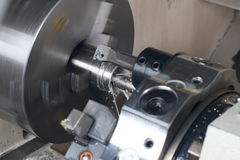 Turning Lathe In Action Royalty Free Stock Photography