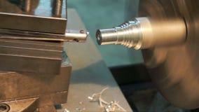 Turning lathe machine finishing face aluminum. stock video