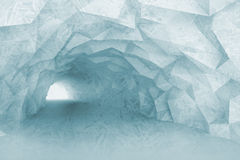 Turning light blue tunnel interior with crystal relief. Of walls and ice texture. Digital 3d illustration stock illustration