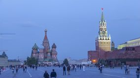 Turning the light on the Red Square in the evening stock video footage