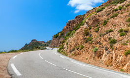 Turning mountain road, Corsica, France Royalty Free Stock Photo