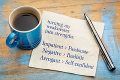 Turning my weakness into strengths. Concept -handwriting on a napkin with a cup of espresso coffee Royalty Free Stock Photos