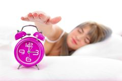 Turning off the alarm Royalty Free Stock Images