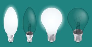 Turning on and off a light bulb. Set of Realistic Incandescent Light Bulb   Stock Photography