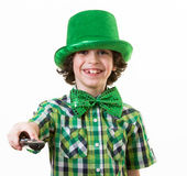Turning off the TV during Saint Patrick's Day Stock Photography