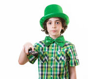 Turning off the TV during Saint Patricks Day Royalty Free Stock Image