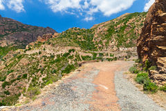 Turning old mountain road, landscape of Corsica Royalty Free Stock Images