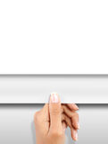 Turning page. Gesture of hand turning white paper page stock photos