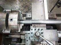 Turning part by manual lathe machine Royalty Free Stock Image