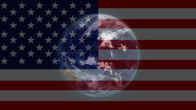 American flag and planet earth stock footage