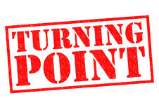 TURNING POINT. Red Rubber Stamp over a white background Stock Images