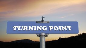 Turning point road sign with flowing clouds stock video