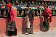 Turning Prayer Wheels Royalty Free Stock Photos