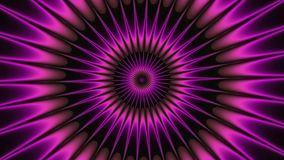 Turning purple pink shinning neon spike discs on dark background. Rich outlined stroke. Seamless ornate design. Dazzling circle sp. Here energy field stock video footage