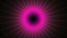 Turning purple pink shinning neon spike discs on dark background. Rich outlined stroke. Seamless ornate design. Dazzling circle sp. Here energy field stock video