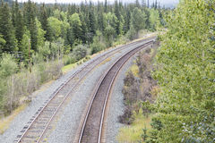 Turning railway line. Railway line going through the Rockies Royalty Free Stock Images