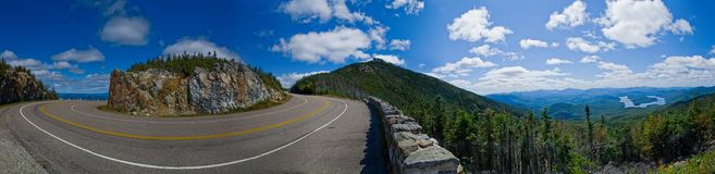 Turning Road Panorama. A panoramic background withe the view of a turning road leading to a summit Royalty Free Stock Images