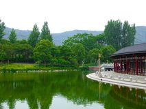Buddha prayer wheels gallery near a lake Stock Image
