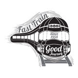 Turning silhouette face of modern speed train and wagons and text good journey isolated Stock Photo