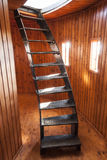 Turning stair in wooden room Stock Photography