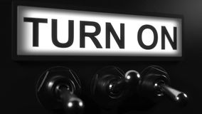 Turning on toggle switch. Switching toggle switch, conceptual 3D animation stock video footage