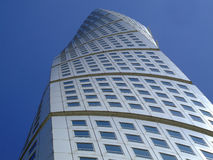 Turning Torso 09. An upward view of the turning torso twisted tower block in malmo Royalty Free Stock Photos