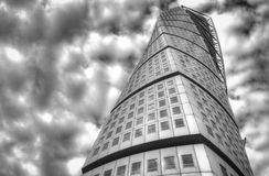 Turning Torso. Is a modern residential and commercial skyscraper designed by the Spanish architect Santiago Calatrava for the town of Malmo, Sweden Royalty Free Stock Photos