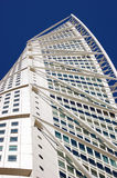 Turning Torso. An upward view of the twisted building Turning Torso in Malmo, Sweden Stock Photos