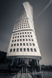 Turning Torso building, Malmö, Sweden. Malmo, Sweden - May 01, 2017: Landmark of the city - the Turning Torso building by Spanish architect Santiago Calatrava Royalty Free Stock Image