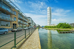 Turning Torso facade with general architecture - city canal reflection Royalty Free Stock Photo