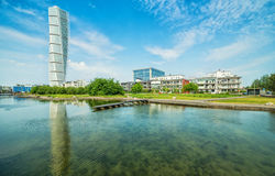 Turning Torso facade - view with water reflection Royalty Free Stock Photography