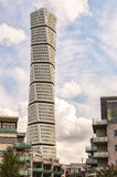 Turning Torso in Malmo. MALMO, SWEDEN - SEPTEMBER 11, 2015: a view of the turning torso twisted tower block in malmo Royalty Free Stock Photography